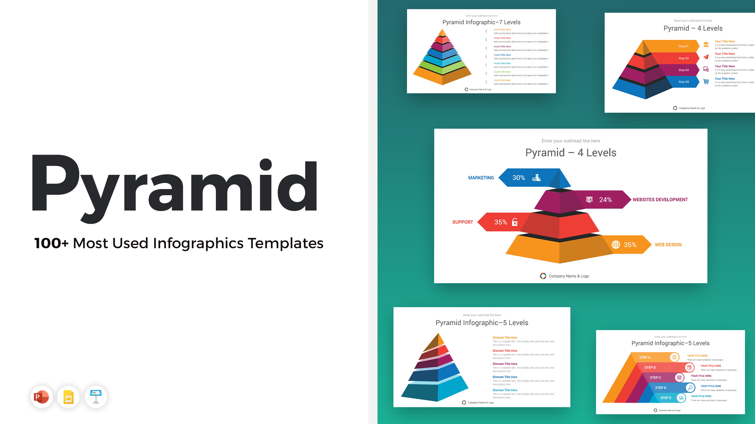 100+ Most Used Pyramid PowerPoint Infographics Templates