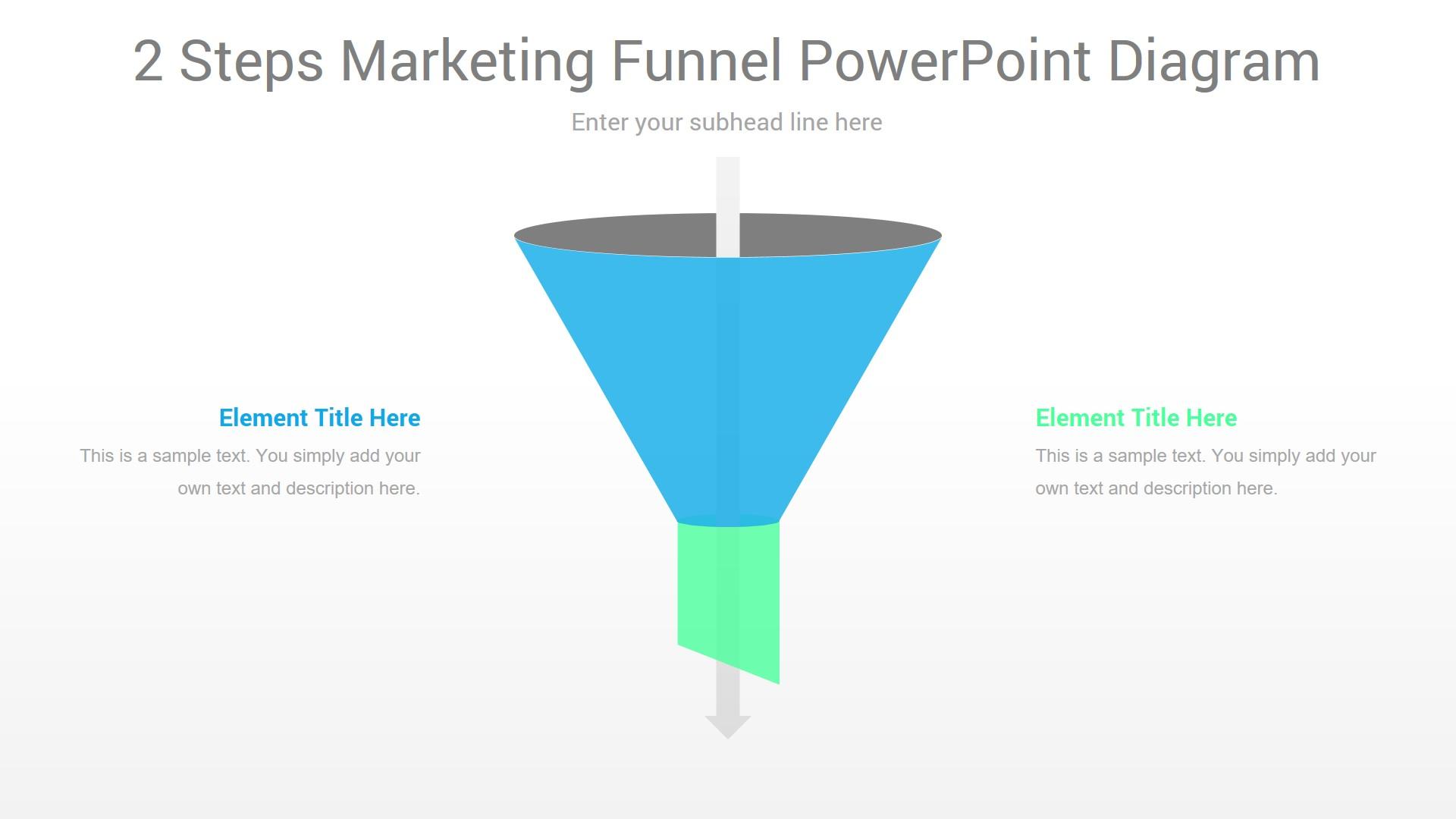 2 Steps Marketing Funnel PowerPoint Diagram
