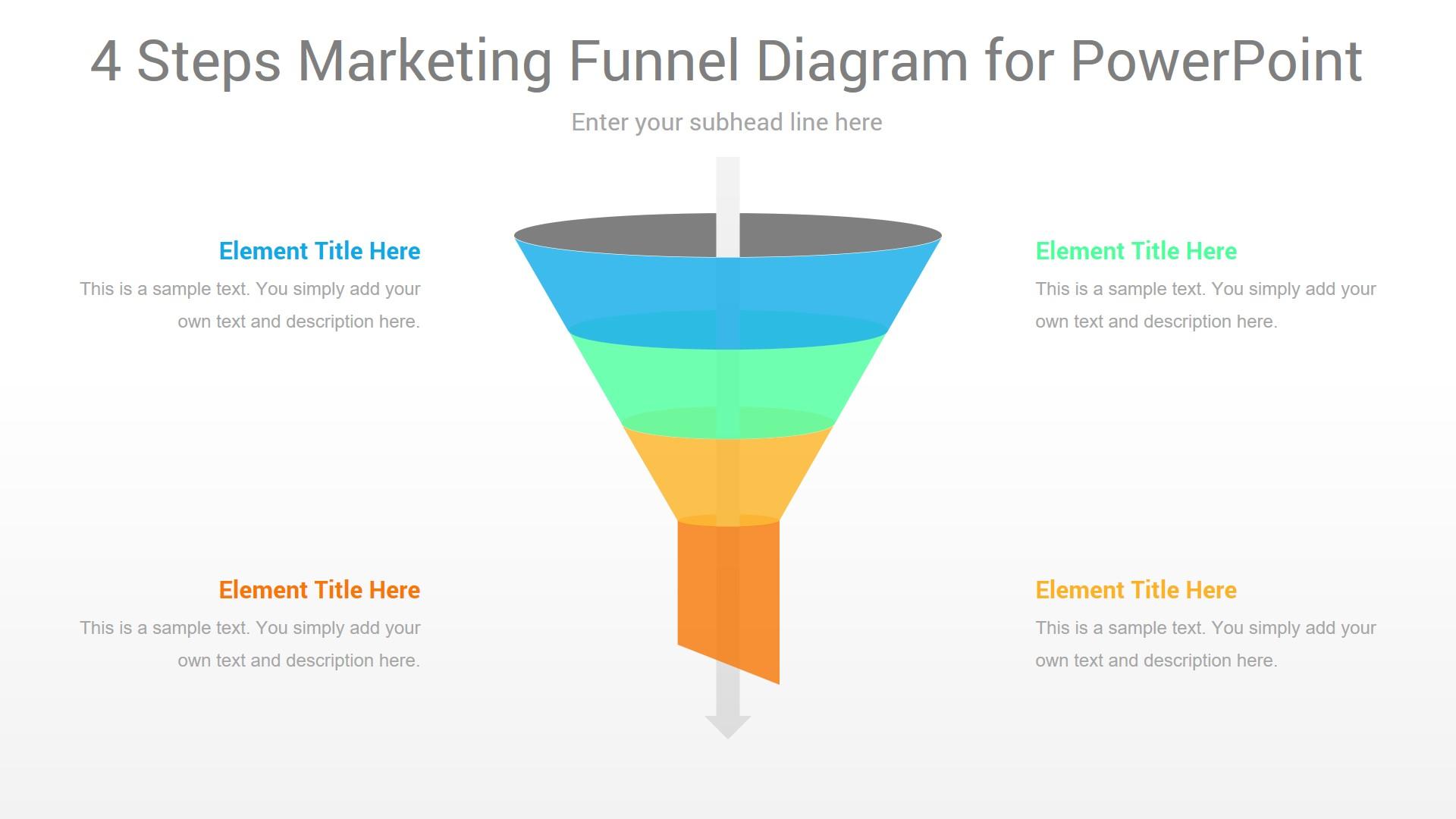 4 Steps Marketing Funnel PowerPoint Diagram