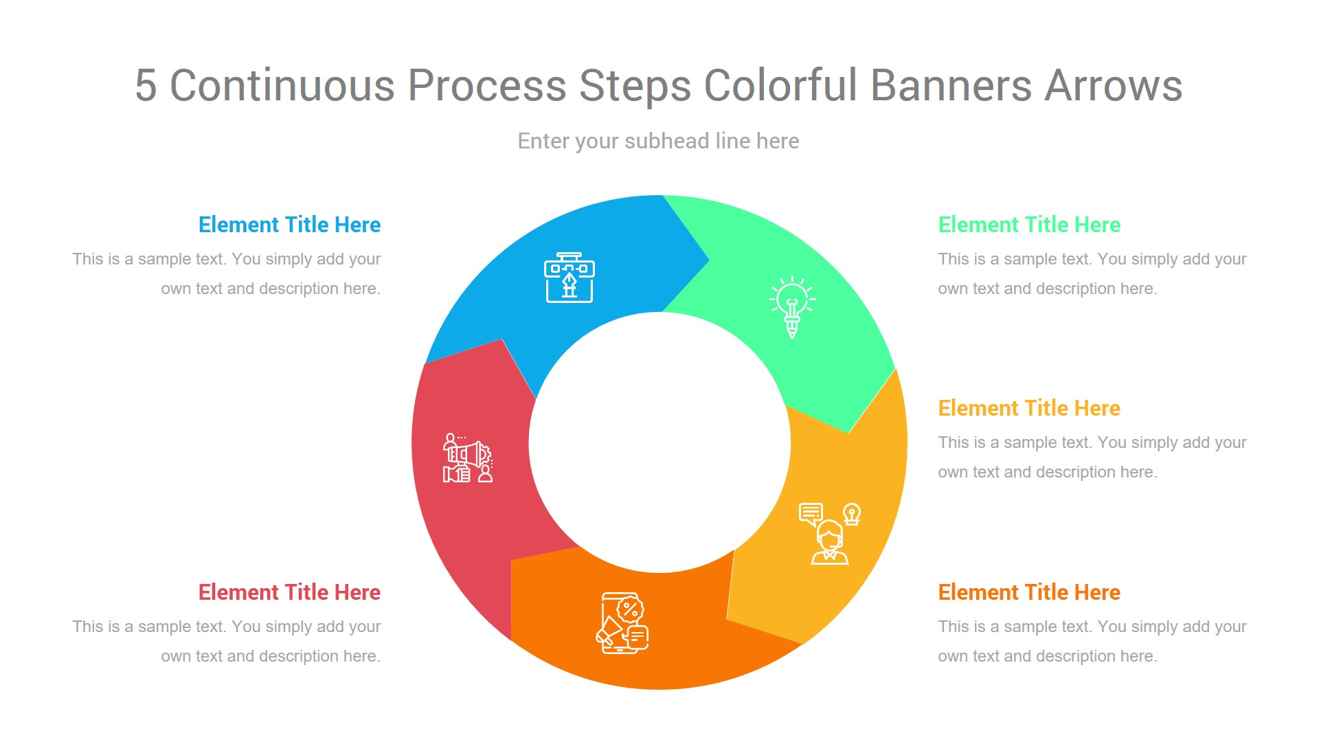 5 Continuous Process Steps Colorful Banners Arrows