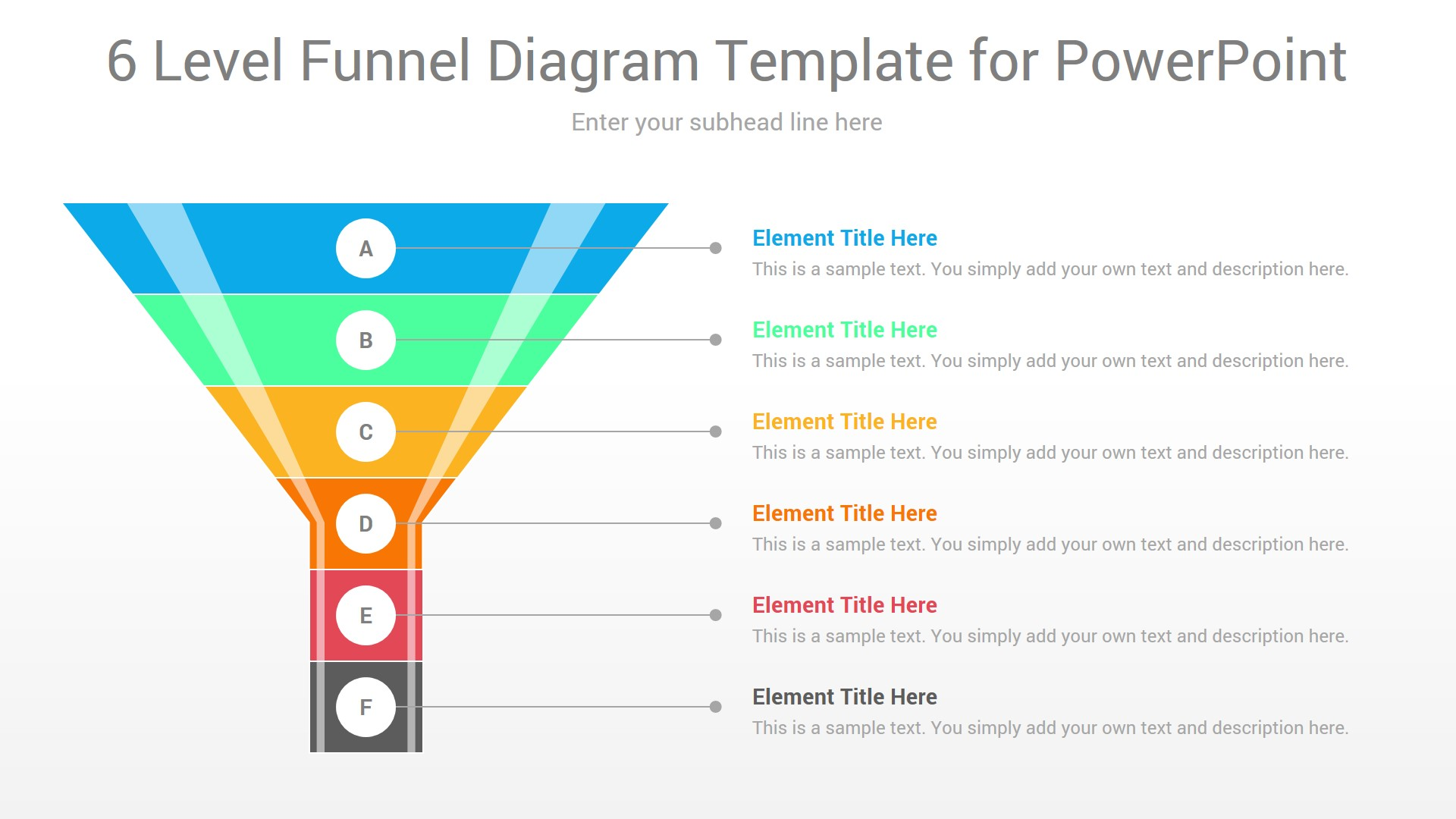 6 Level Funnel Diagram Template for PowerPoint
