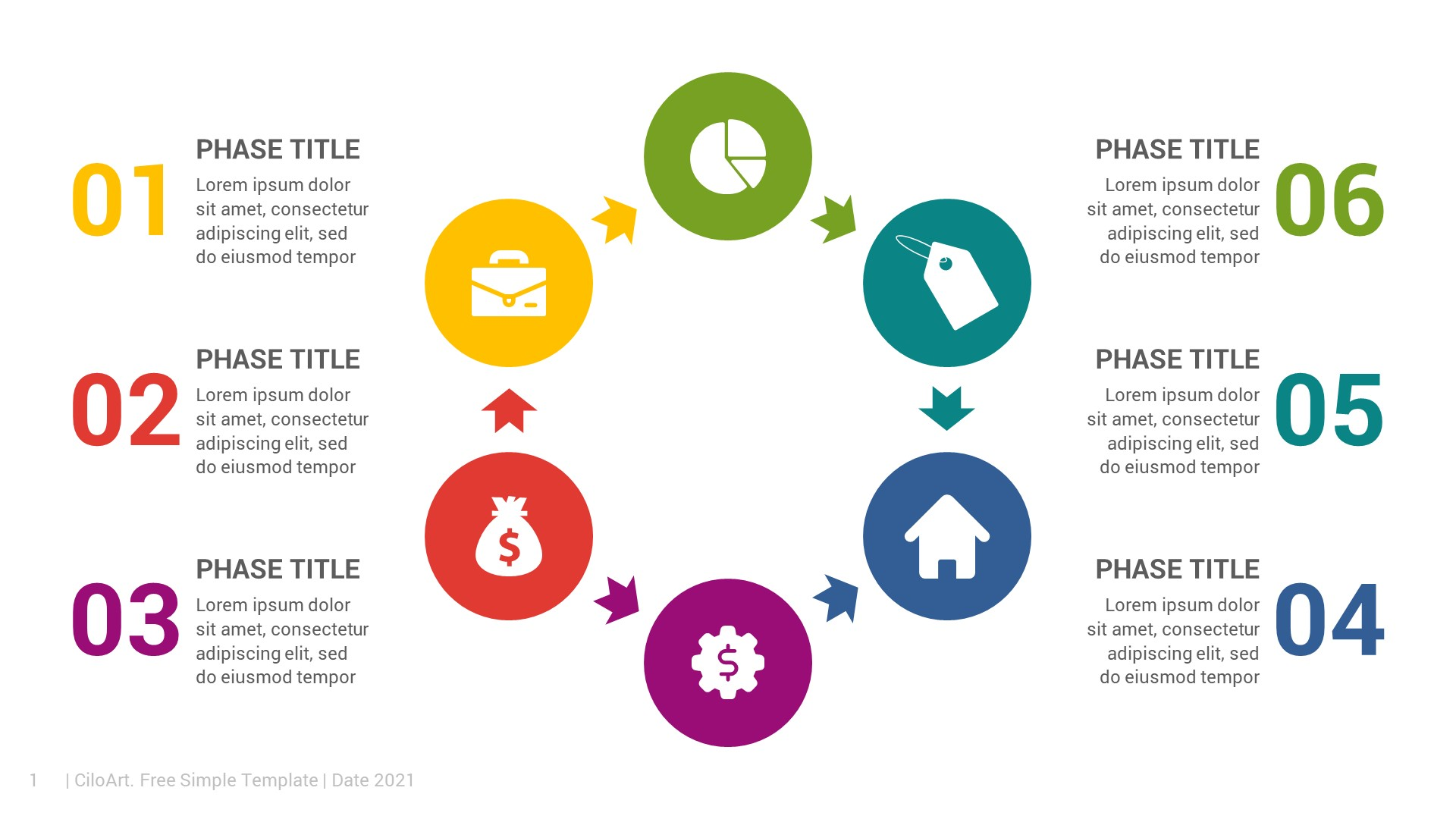 6 Steps Circular PowerPoint Infographics Free Download