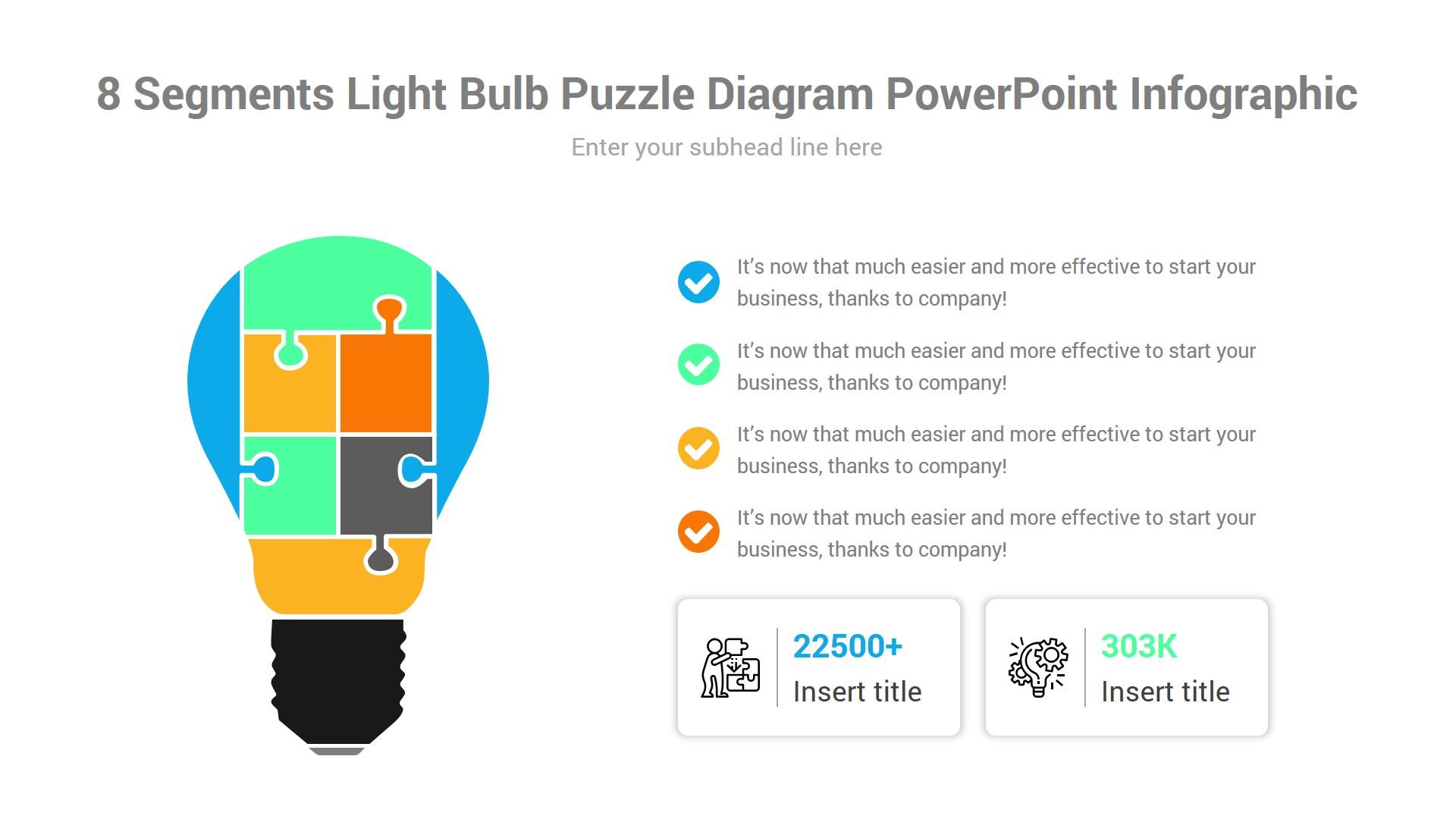 8 Segments Light Bulb Puzzle Diagram PowerPoint Infographic