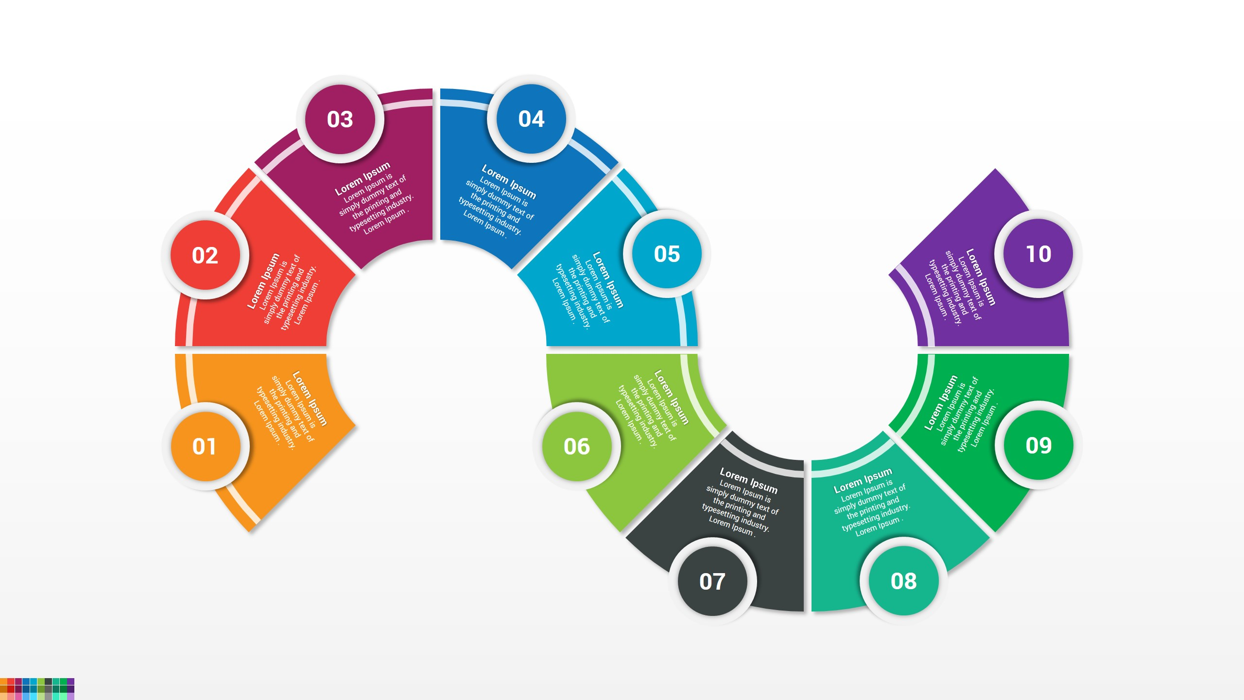 Flat Colorful PPT Infographic for PowerPoint and Google slides Templates
