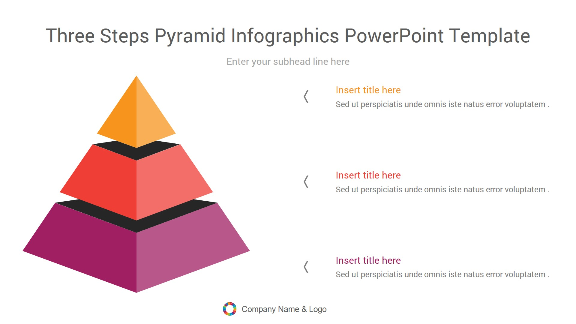 Three Steps Pyramid Infographics PowerPoint Template