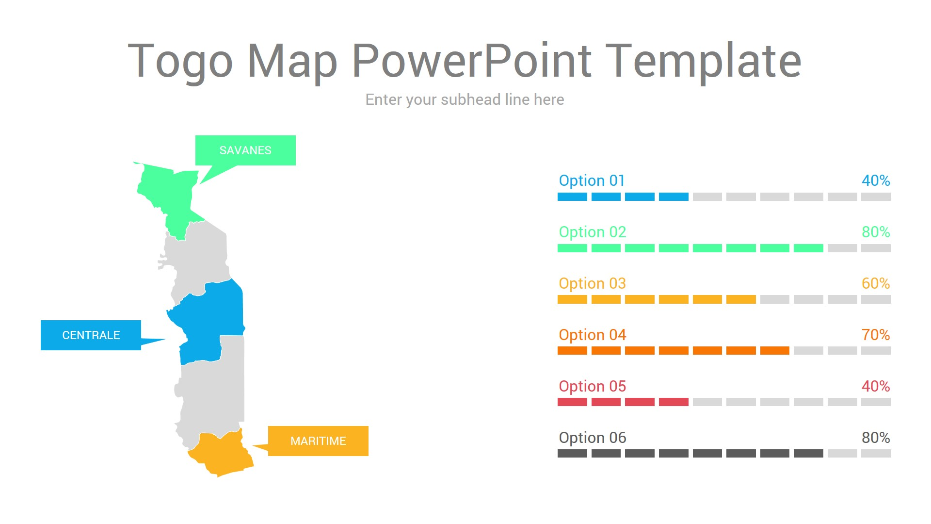 Togo map powerpoint template