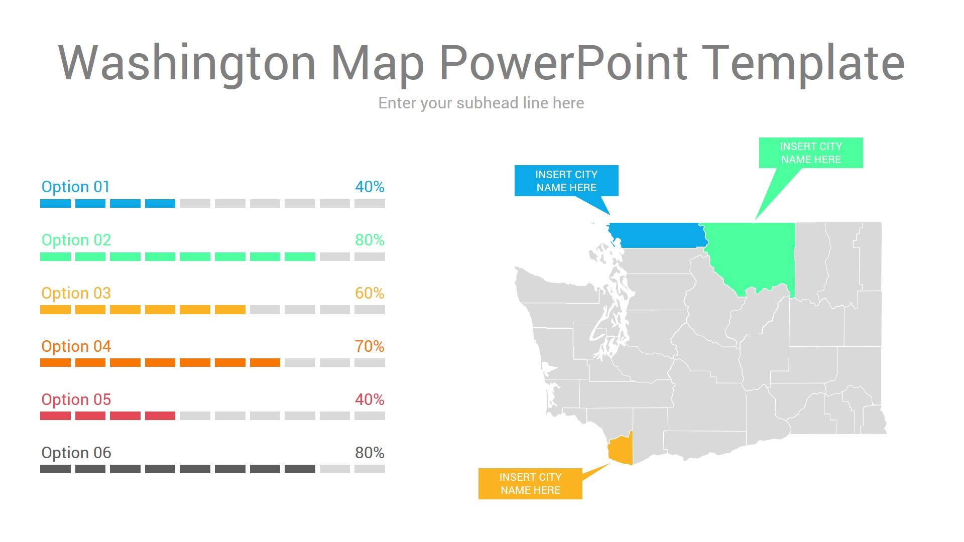 Washington map powerpoint template