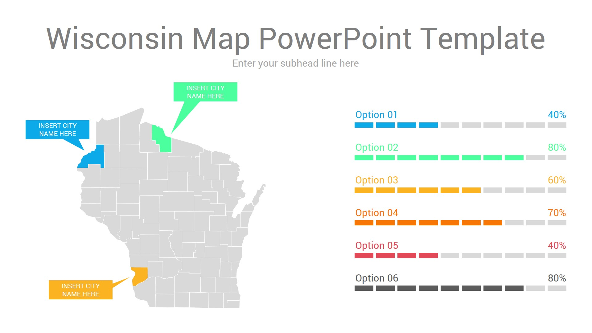 Wisconsin map powerpoint template