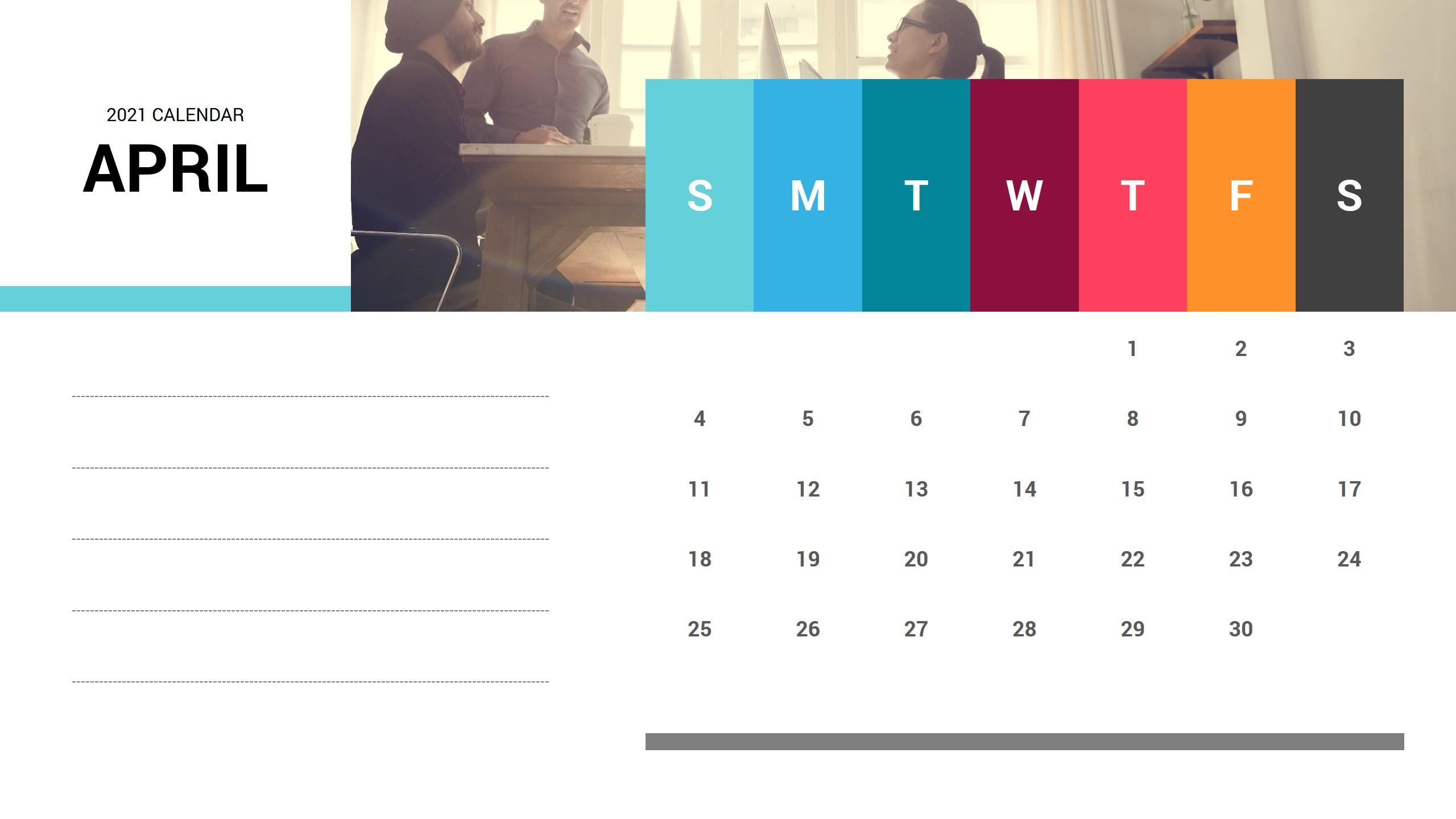 April 2021 Calendar PowerPoint Template