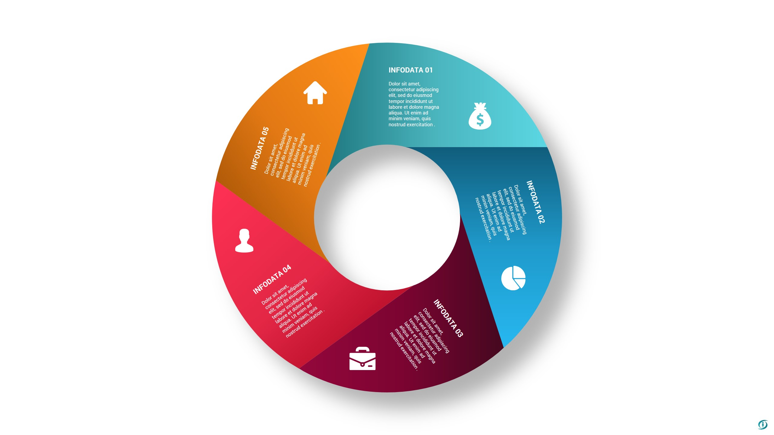 Circle Folded Infographic PowerPoint Template Design