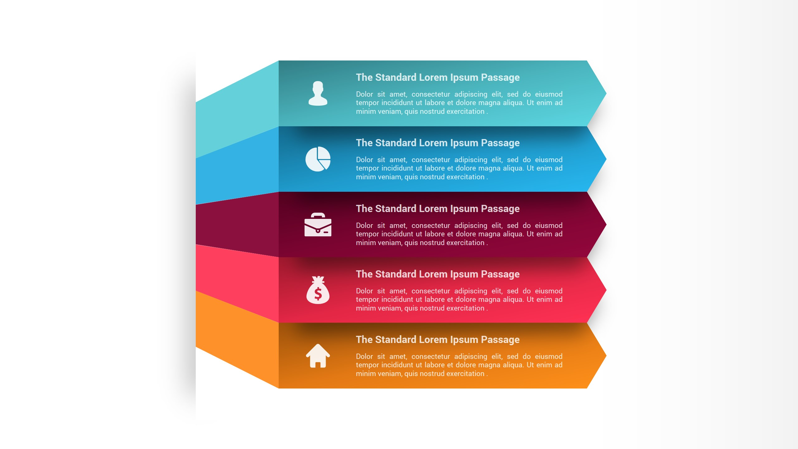 Five Arrow Infographic Steps PowerPoint Template