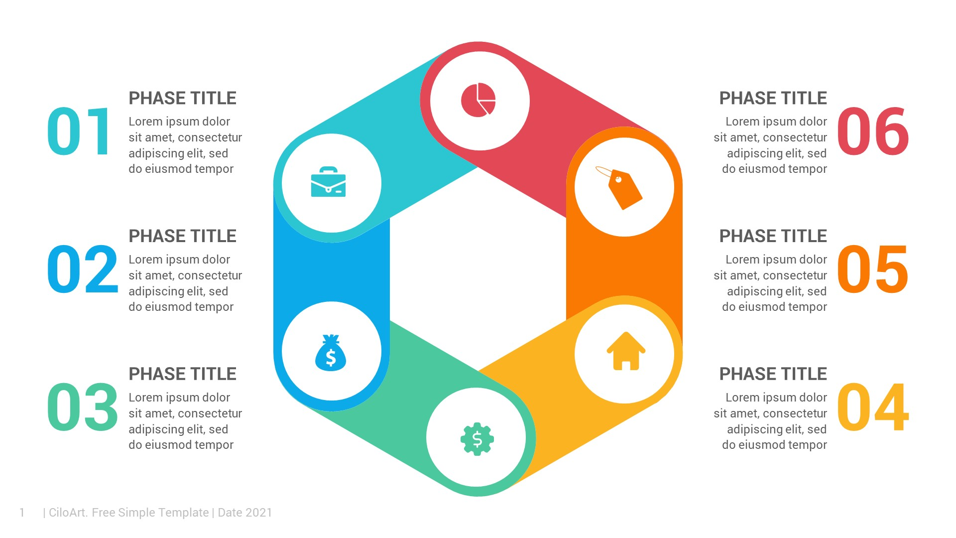 Folded Hexagon Free PowerPoint Infographic Template