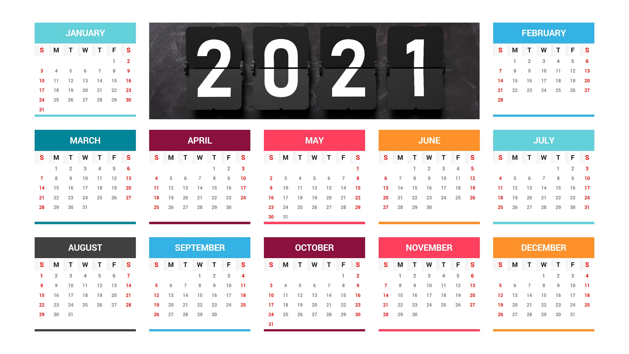 Free 2021 Calendar PowerPoint Template
