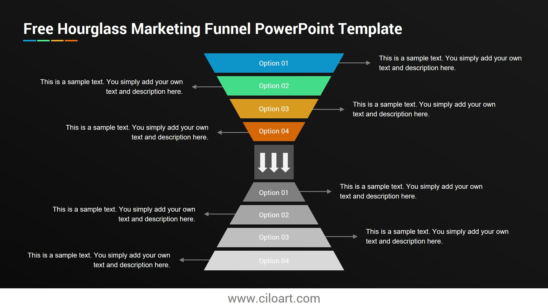 Hourglass Marketing Funnel Free Powerpoint Template Ciloart