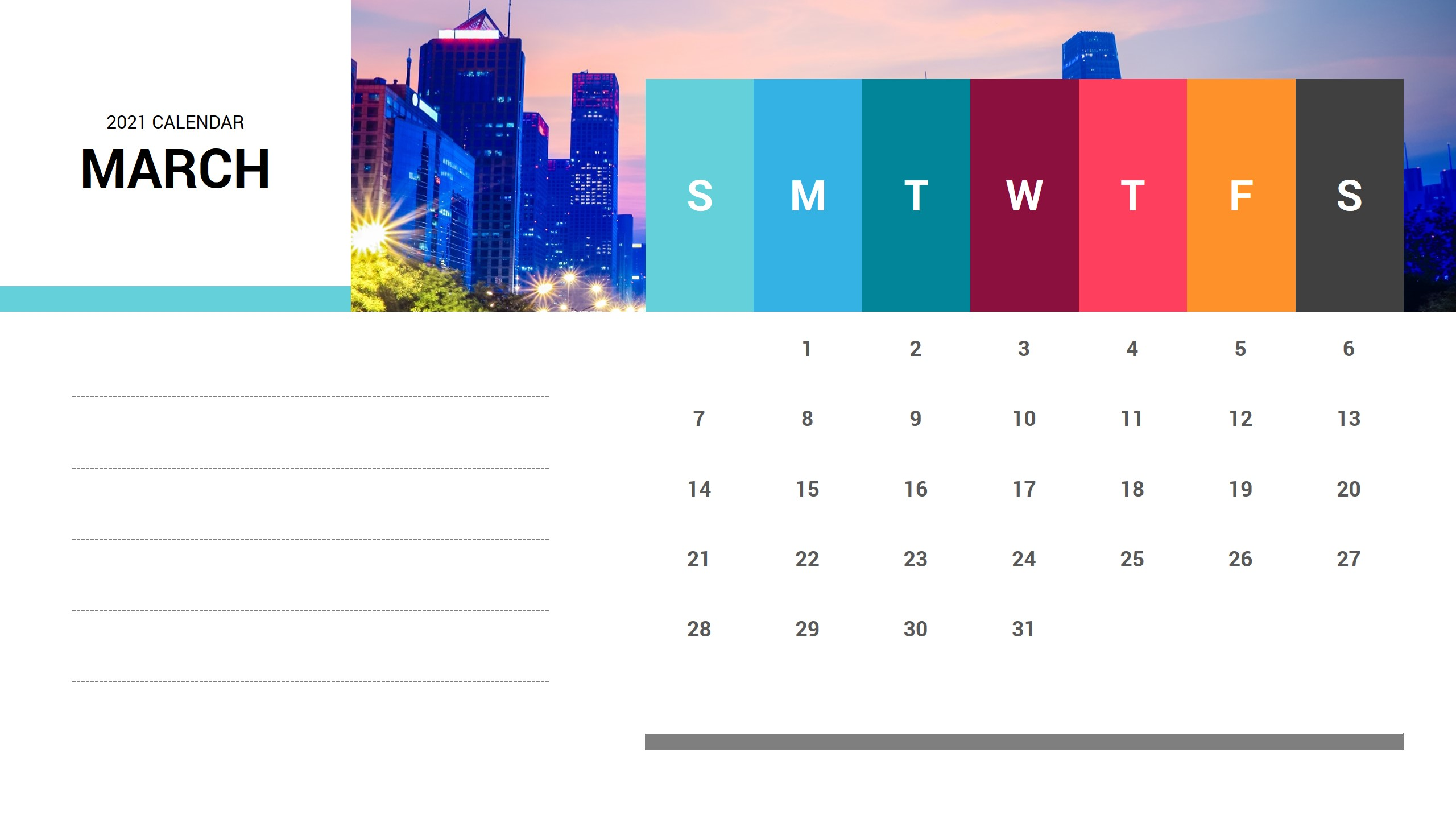 March 2021 Calendar PowerPoint Template