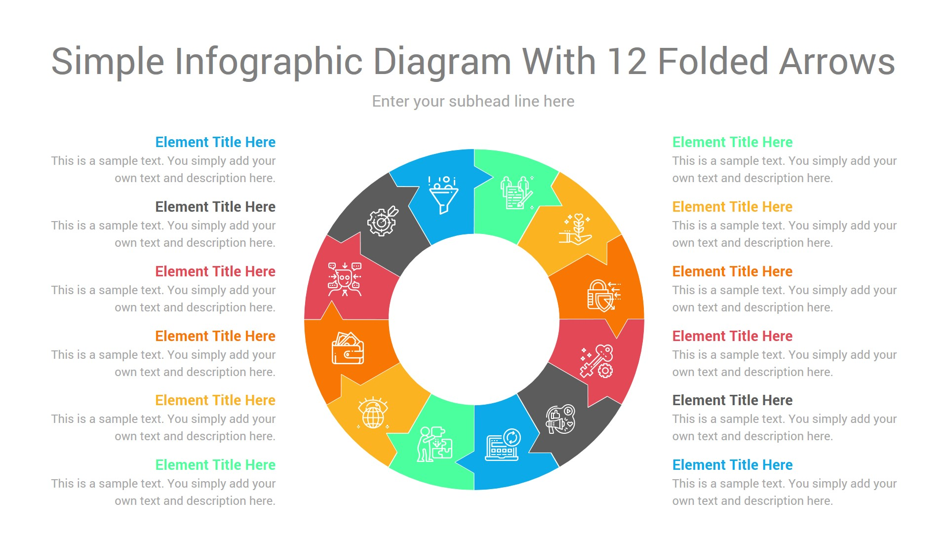Simple infographic diagram with 12 folded arrows