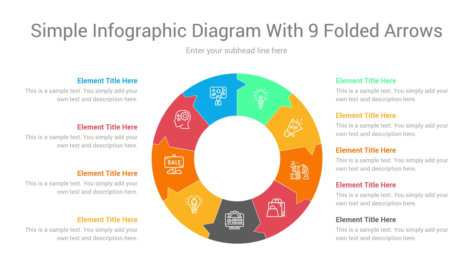Simple infographic diagram with 9 folded arrows