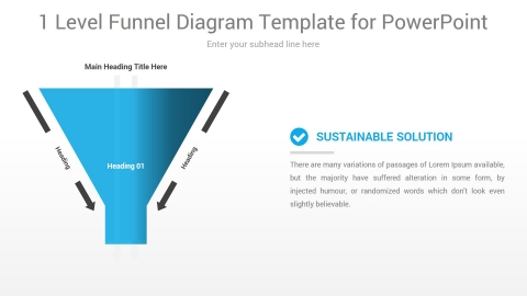 1 Level Funnel Diagram Template for PowerPoint