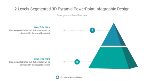 2 levels segmented 3d pyramid powerpoint infographic design