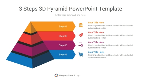 3 Steps 3d pyramid powerpoint template
