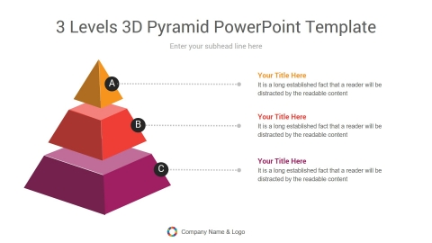 3 levels 3d pyramid powerpoint template
