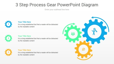 3 Step Process Gear PowerPoint Diagram