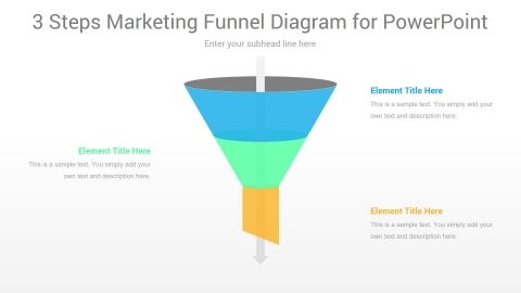 3 Steps Marketing Funnel PowerPoint Diagram