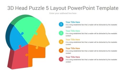 3D Head Puzzle 5 Layout PowerPoint Template