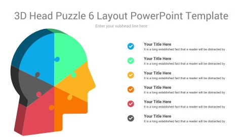3D Head Puzzle 6 Layout PowerPoint Template