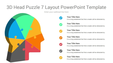 3D Head Puzzle 7 Layout PowerPoint Template