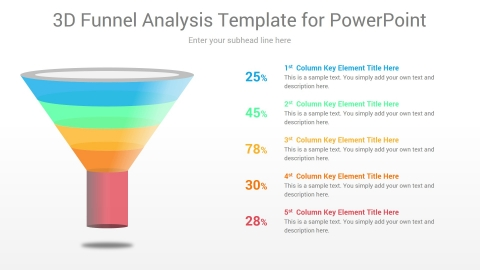 3D Funnel Analysis Template for PowerPoint