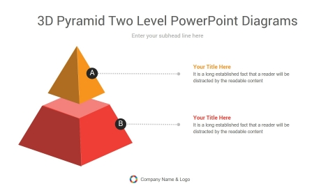 3d pyramid two level powerpoint diagrams