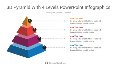 3d pyramid with 4 levels powerpoint infographics