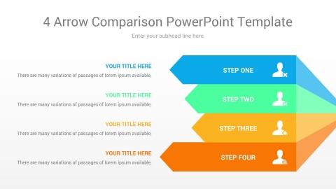 4 arrow comparison powerpoint template