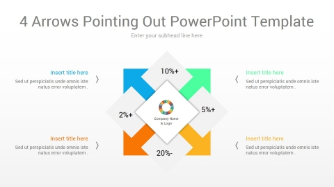 4 arrows pointing out powerpoint template