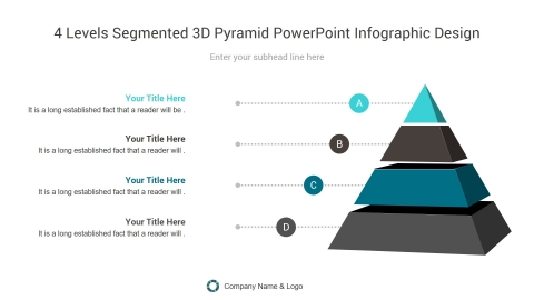 4 levels segmented 3d pyramid powerpoint infographic design