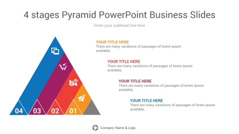 4 stages pyramid powerpoint business slides
