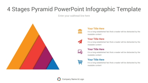 4 stages pyramid powerpoint infographic template