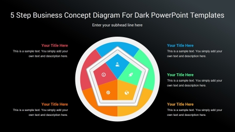 5 Step Business Concept Diagram For Dark PowerPoint Templates