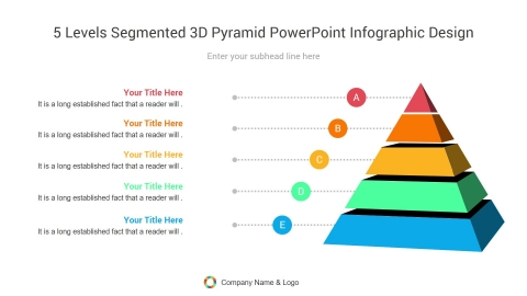 5 levels segmented 3d pyramid powerpoint infographic design