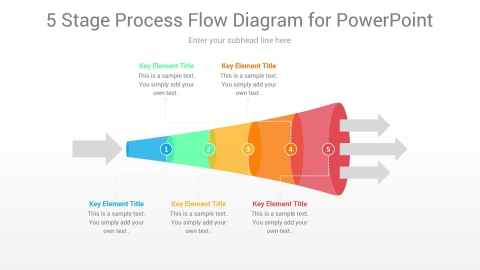 5 Stage Process Flow PowerPoint Diagram