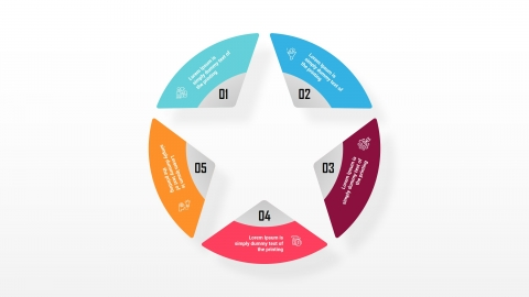 5 Steps Circle Star PowerPoint Diagram Template