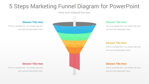 5 Steps Marketing Funnel PowerPoint Diagram