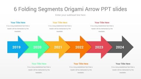 6 folding segments origami arrow ppt slides