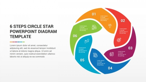 6 Steps Circle Star PowerPoint Diagram Template
