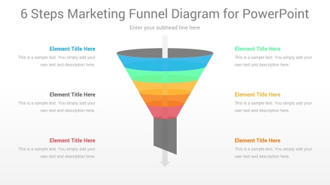 6 Steps Marketing Funnel PowerPoint Diagram