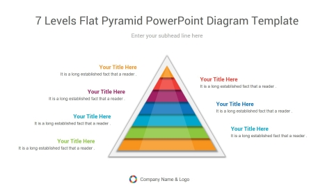 7 levels flat pyramid powerpoint diagram template