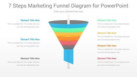7 Steps Marketing Funnel PowerPoint Diagram