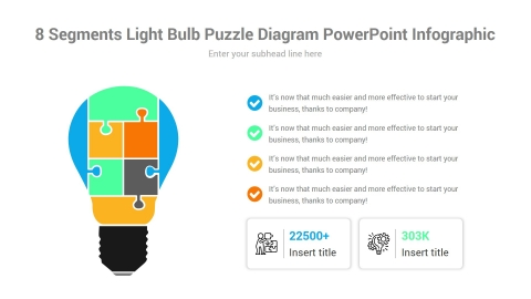 8 Segments Light Bulb Puzzle Diagram PowerPoint Infographic