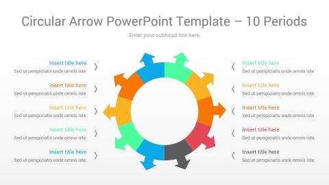 Circular Arrow PowerPoint Template 10 Periods